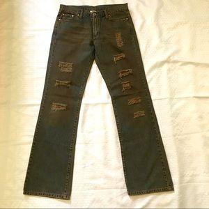 G Brand Denim Jeans Navy w/Brown Wash Distressed